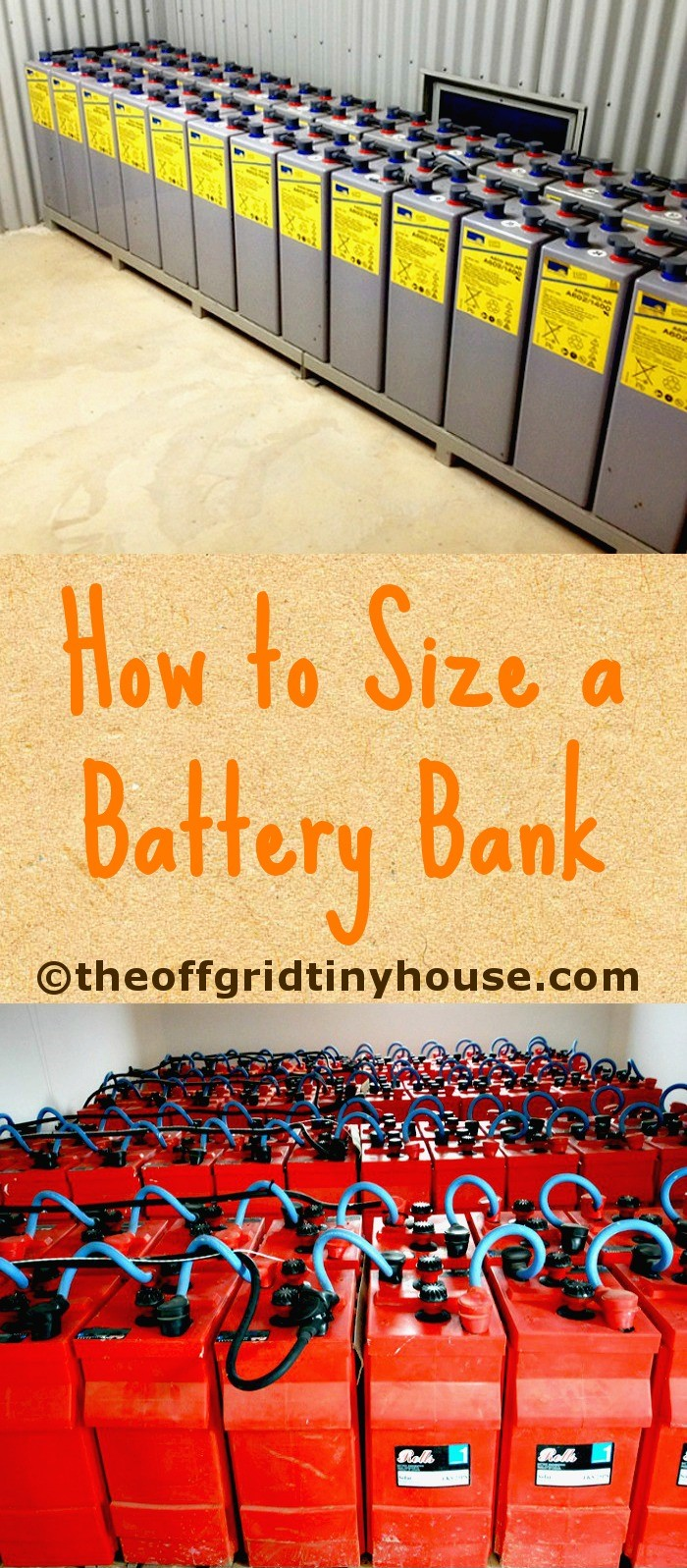 How to Size a Battery Bank. The right #battery bank size is essential because undersizing or oversizing the #batteries will damage and shorten their lifespan. Click through to learn the complete process to properly #sizing your #offgrid #batterybank.