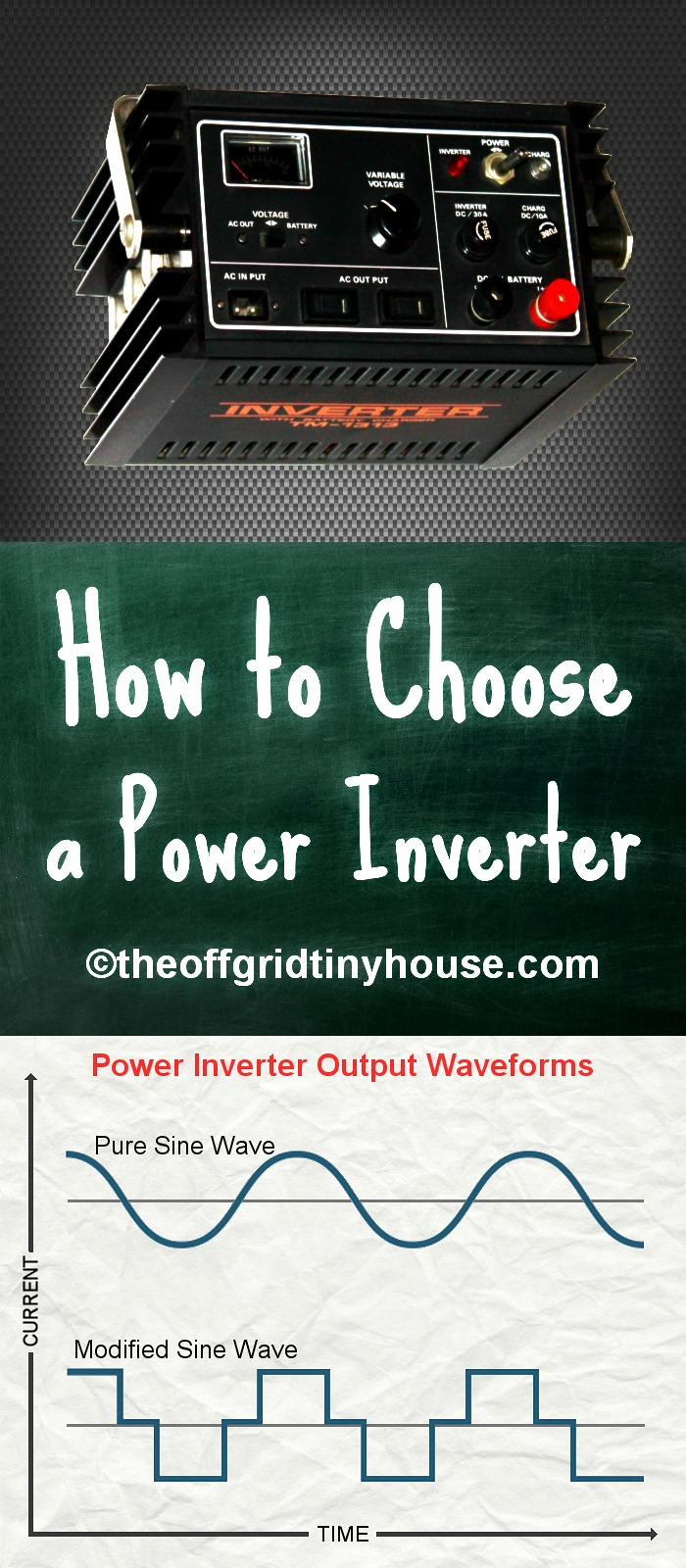 How to Choose a Power Inverter. #Inverters are needed to convert DC power into the AC power needed to run household appliances. To choose the best #powerinverter for you DC #batterybank and #electrical system, you need know about the general features and settings of inverters as well as the differences between #ModifiedSineWave and #PureSineWave inverters. Click through to learn what you need for choosing your power #inverter.