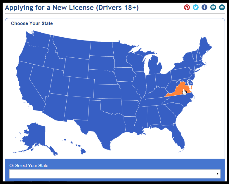 License Requirements by State Map Highlight and Click